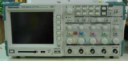 Oscilloscope used to graph an electrical signal.